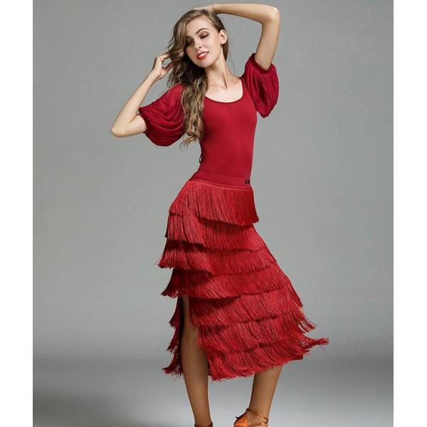 f2ef497d5dd7 Dark green wine red yellow competition fringes Latin Dance Dress Women  Professional Latin Skirt Samba Dance Latin Salsa Dresses