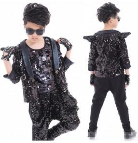 Fashion Children black sequined Jazz Dance Clothing Boys Street Dance Hip Hop Dance Costumes Kids Performance Clothes Sets