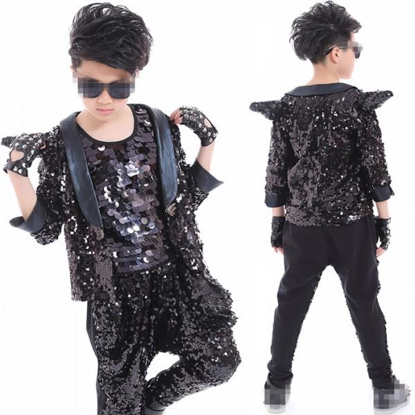fb83707a2 Fashion Children black sequined Jazz Dance Clothing Boys Street ...