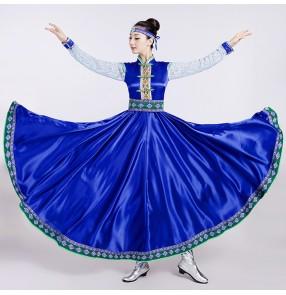 Folk dance Mongolian dance clothes female costume royal blue dresses Traje de baile mongol vestir