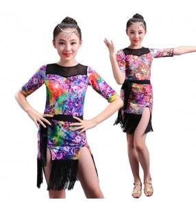 Girl floral short Sleeves Latin Dance Dress Children Ballroom Dance Dresses Kids Salsa Rumba Cha Cha Samba Tango Dress