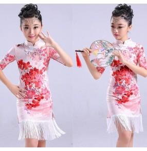 Girl Printed fringes Latin Dance Dress Children Ballroom Dance Dresses Kids Salsa Rumba Cha Cha Samba Tango cheongsam Dress