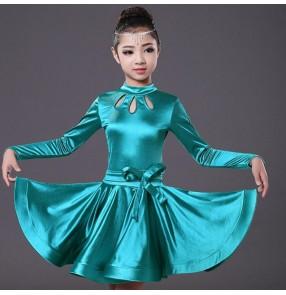 Girl Red turquoise blue satin Long Sleeves Latin Dance Dress Children  Dance Dresses Kids Salsa Rumba Cha Cha Samba Dress