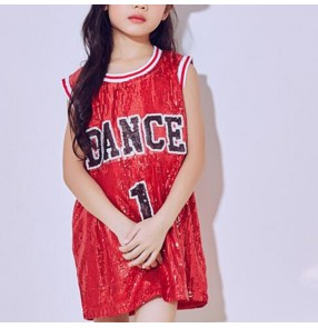 Girl's silver red sequined glitter girl's kids children fashion hip hop street cheer leading model show competition jazz dance tops vests
