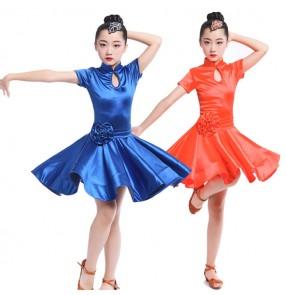 Girl Short Sleeves Latin Dance Dress Children Ballroom Dance Dresses Kids Salsa Rumba Cha Cha Samba Dresses