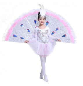 Girls children kids stage performance party film games cosplay new near celebration White feather peacock sequined  folk dance dresses costumes