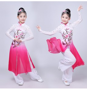 Girls Chinese traditional perform drum Gradient Children Fan  Yangko Classical Fairy Dance costumes Stage Performance Clothing