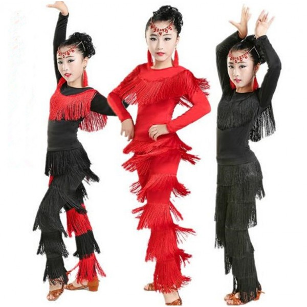 aeadcbde6 Girls long sleeves tops Rumba Fringe Pants Child Tassel Latin Dance  Clothing Junior Salsa Ballroom Tango Cha Cha Dancing Clothes