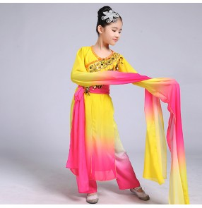 Girls rainbow Chinese Dance Costume Child water fall sleeves classical Folk Cosplay Dance Clothing Kids Fan Dance Clothes Yangko Stage costumes