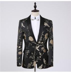 Gold floral black fashion men's male stage party show performance singers host groomsman dancers dance suit dresses blazers
