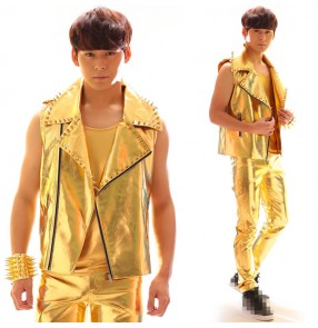 Gold glitter fashion men's male competition stage performance night club rivet pu leather singers dancers bar dancing waistcoats vests