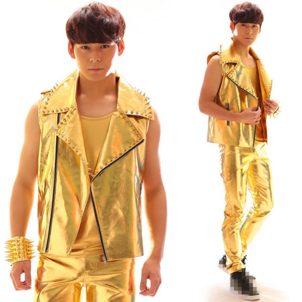 Gold glitter fashion men's male competition stage ...