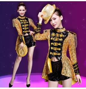 Gold sequins women Jazz Dance Stage Costumes For Singers Hip Hop Dance tuxedo tops shorts Female Ds Dj paillette Nightclub costumes