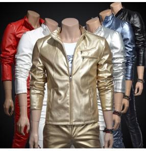 gold white silver red  fashion men's pu leather slim nightclub bar outerwear jacket costume male dj singer dance stage coat jazz blazer