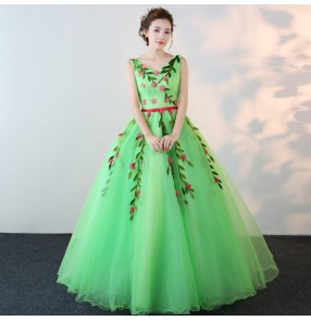 Green Spanish Dance Costume Flamenco Dance Dress singers chorus Performance Dress Female Opening Stage Flower Dresses