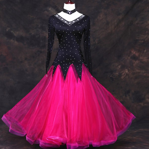 63f2fd662b061 Hot pink black rhinestones competition standard ballroom dance wear  ballroom dress woman waltz smooth ballroom dresses