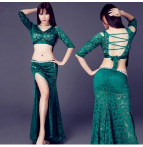 Indian Belly Dance Long Skirt 2-Piece Lace Dress Sexy Dancer Practice Costumes Set Dark Green Black Red Turquoise