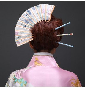Japanese Flower fans Sakura Headwear Clip Haripin Hair kimono Yukata Tassels Anime film cosplay headdress