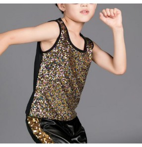 Kids Performance competition show cosplay jazz hip hop dance Sequins Top for Children Gold Colorful Boys Patchwork Shinny Vest
