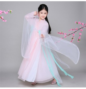 Light pink girl's kids children ancient han Chinese folk fairy princess dance film drama performance dance dresses outfits