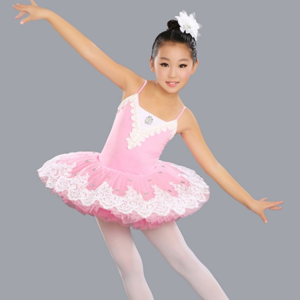 249424b23ee4 Light pink girls kids children stage performance school competition tutu  skirt leotards ballet dance dresses costumes