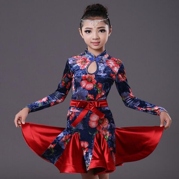 8f03a9b78 long sleeves velvet floral kids Latin dance one piece dresses for little ...