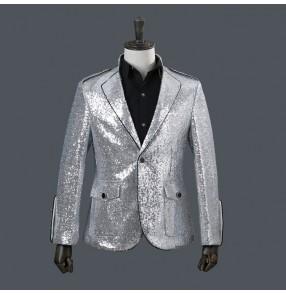 male men's silver paillette costumes stage wear Photos fashion nightclub bar singer dancing blazer suit show drummer performance jackets