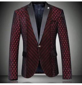 Mans striped Mens jazz Blazers Casual Slim Fit Suit Red Jacket Coat Mans Groomsmen Wedding Suit Fashion European style Blazer