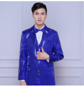 men costume blazer gold red royal blue silver green purple Jazz night club bar dance paillette suit wedding table costume suit top coat for singer dancer