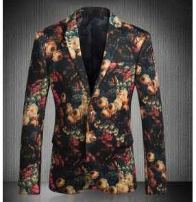 men's Rose Flower singers dancers Blazer Jacket Groomsmen Wedding Blazers Slim Fit Evening Party Dress Suit Blazer Masculino