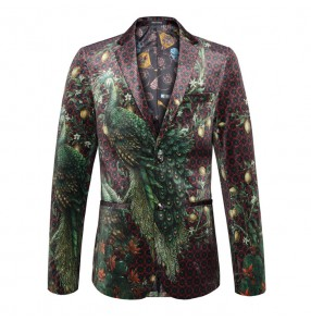 Men's singers dancers Peacock Printed Blazer Men Slim Unique Fashion Single Breasted Formal Dress Coat Wedding Party Stage Suit Jacket