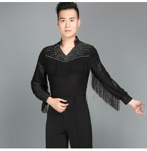 Mens Latin Dance Shirt Black fringes Men's Ballroom Shirts Modern Rumba Cha Cha Samba Tango Salsa Dance Shirt