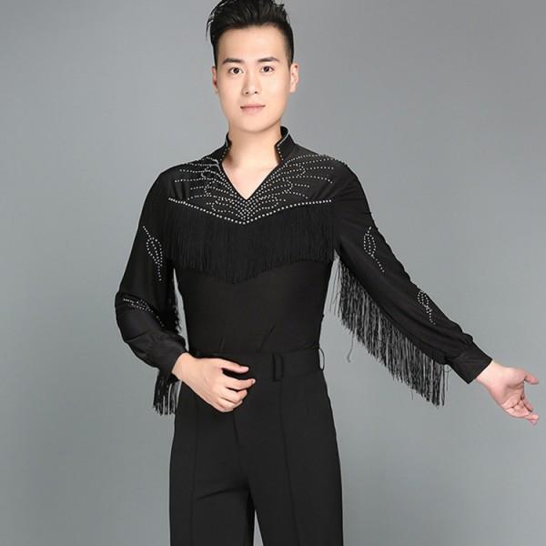 38023686638f Mens Latin Dance Shirt Black fringes Men's Ballroom Shirts Modern Rumba Cha  Cha Samba Tango Salsa Dance Shirt