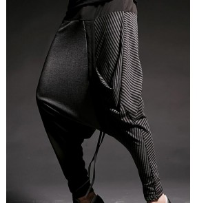 Mens striped Casual Pants Drop Crotch Trousers Men Fashion HIP HOP dance Show Harem Pant Male Punk Rock Stage Clothing