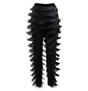 milk silk long length layers fringes competition women's latin dance trousers women latin tassel trousers pants