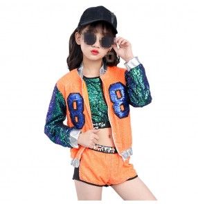 Neon orange green sequined patchwork long sleeves girls kids children hip hop jazz singers model competition performance costumes outfits