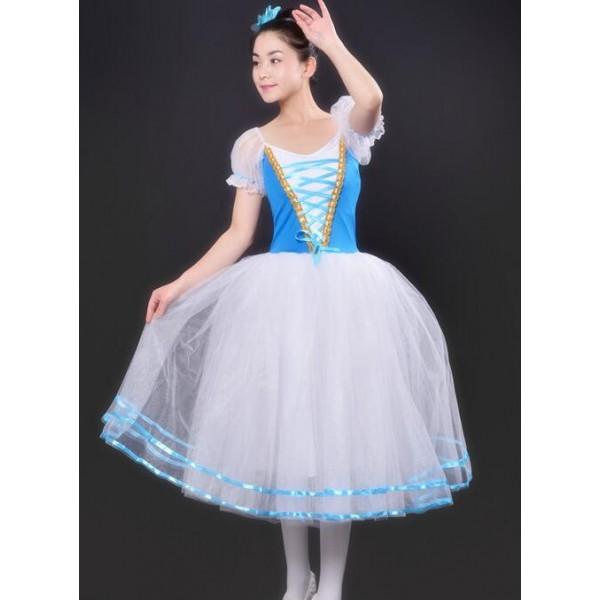 7252cc6d7526 New Girls modern dance Blue white Pancake Tutus Dance Costumes ...