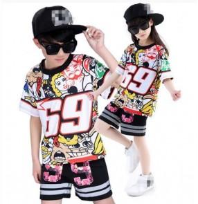 Printed short sleeves fashion boys girls kids children modern dance hip hop jazz dance ds performance hip hop dance costumes outfits