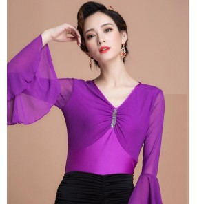 Purple violet Long flare sleeves V neck spandex competition performance ballroom latin cha cha dance tops blouses