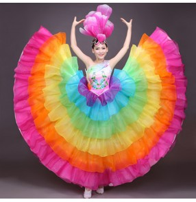 Rainbow colored big skirted women's girls opening Spanish flamenco stones performance cosplay one shoulder competition ballroom bull dance dresses costumes