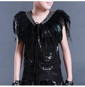 Real Peacock feather diamond boy's kids children stage performance party show competition drummer model dance wrap capes shawls