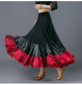 red Black ribbon striped patchwork fashion women'e female competition practice ballroom waltz tango dance long skirts