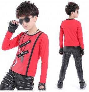 Red black white long sleeves boys kids children stage performance competition jazz hip hip dancers singers dance tops t shirts
