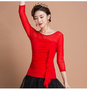 Red fringes halter neck hollow shoulder sexy fashion women's adult stage performance competition ballroom tango waltz latin dance tops shirts blouses