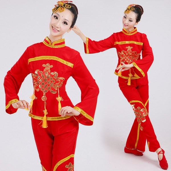 eef263bb7 Red Gold Traditional Chinese Dance Costumes Women Woman Sleeve Fan Ancient Clothing  National Folk Dance Costume For Woman Sc 1 St Aokdress.com