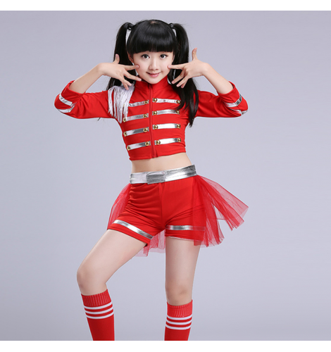 Red Kids Children Sequin Hip Hop Dance Costume Stage performance cosplay  Jazz Dance Costumes Suit Girls tops and shorts outfits