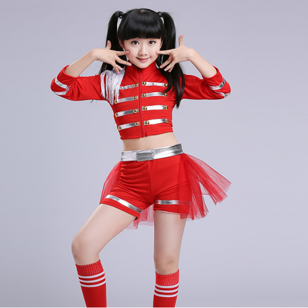 169a429ae6502 Red Kids Children Sequin Hip Hop Dance Costume Stage performance cosplay  Jazz Dance Costumes Suit Girls tops and shorts outfits