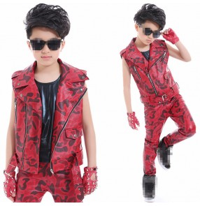 Red leopard  fashion Child Hip-hop jazz Dance Costume Kids Sleeveless T-shirt Suit Boy drummer performance Costume Girl Street Dancer Wear