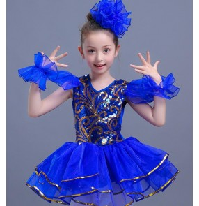 Red royal blue Children Girl Jazz Dance Girls Jazz Dance Costumes for Girls Kids Sequin Hip Hop Dancing Performance Jazz Costume For Girls