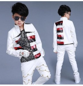 Red striped sequined white leather patchwork rivet fashion boy's kids children school competition jazz hip hop drummer performance jackets and pants